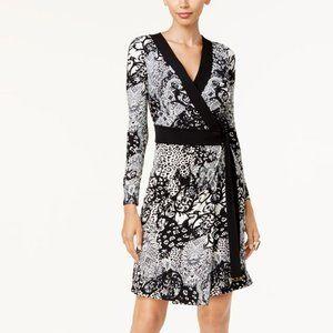 Thalia Sodi Black White Wrap Dress Size Small